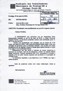 Ofício que foi entregue ao prefeito José Leão comunicando sobre a paralisação